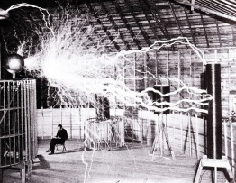 Tesla working in his Colorado Springs Lab circa:1900