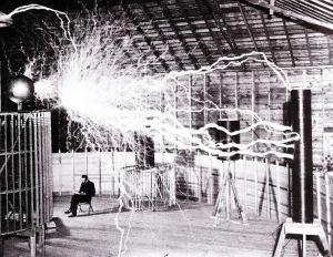 Tesla working in his Colorado Springs Lab circa:1900