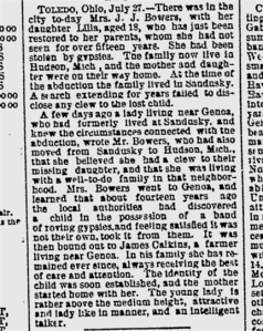 News Article from Reading PA, July 27, 1882