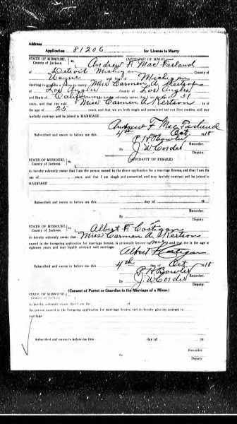 MacFarland Marriage record